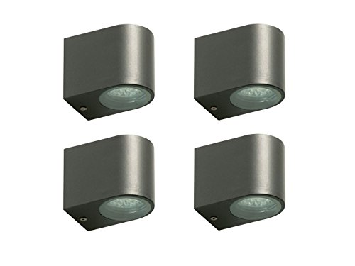 4er Set Ranex LED-Außenwandleuchte Bastia anthrazit, Aluminium downlight-Bündelung, IP44, 5000.322-4